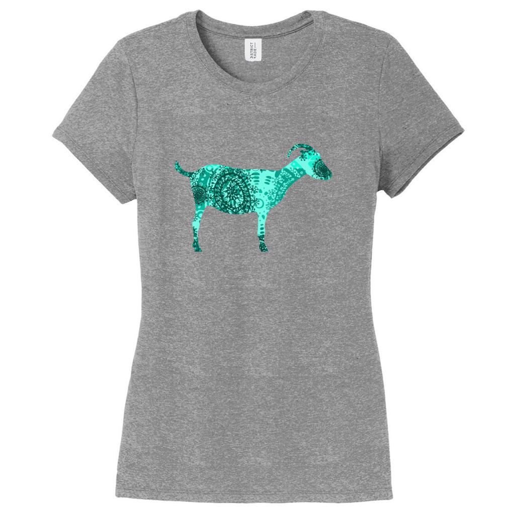 Custom Pattern Goat Silhouette Women's Fitted T-Shirt