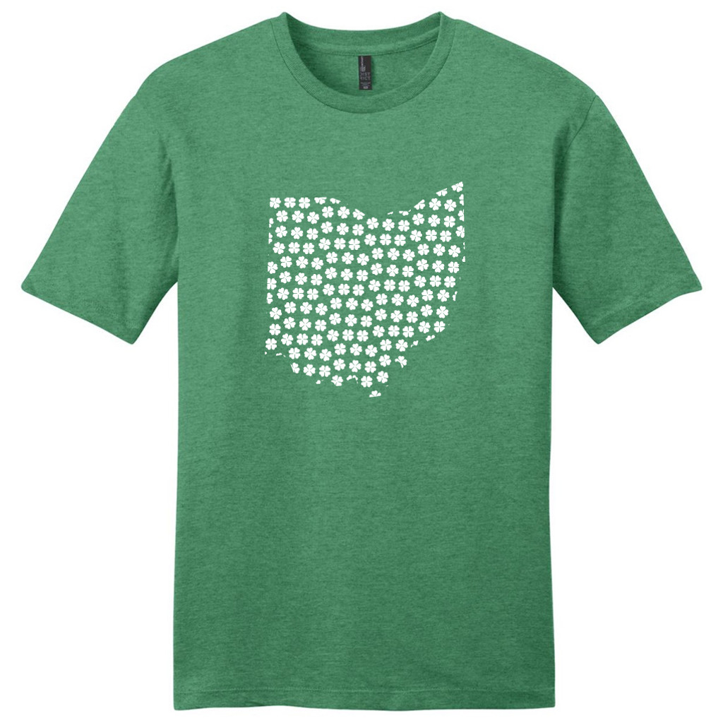 Heathered Kelly Green Custom Shamrock State Silhouette T-Shirt