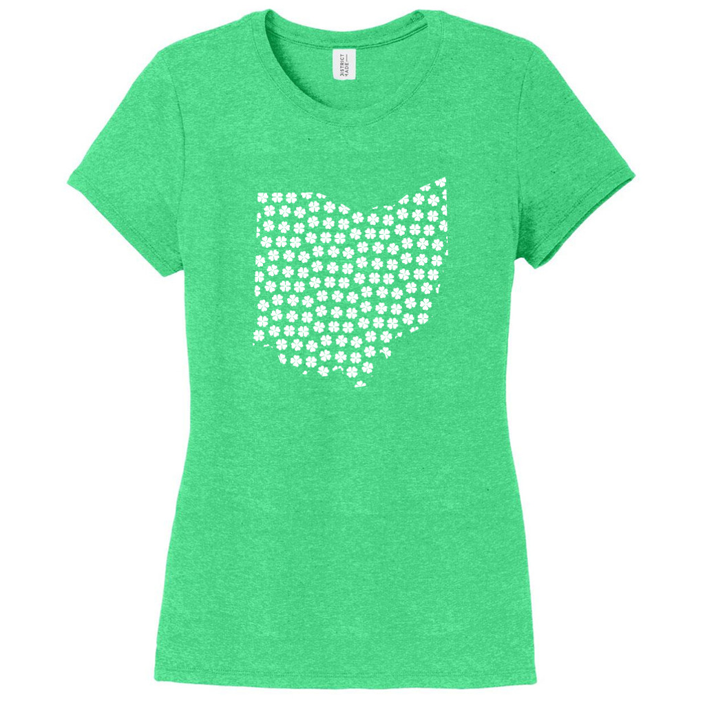 Green Frost Custom Shamrock State Silhouette Women's Fitted T-Shirt
