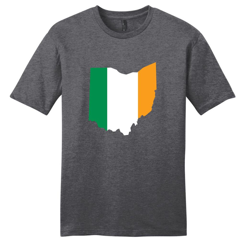 Heathered Charcoal Custom Irish Flag State Silhouette T-Shirt