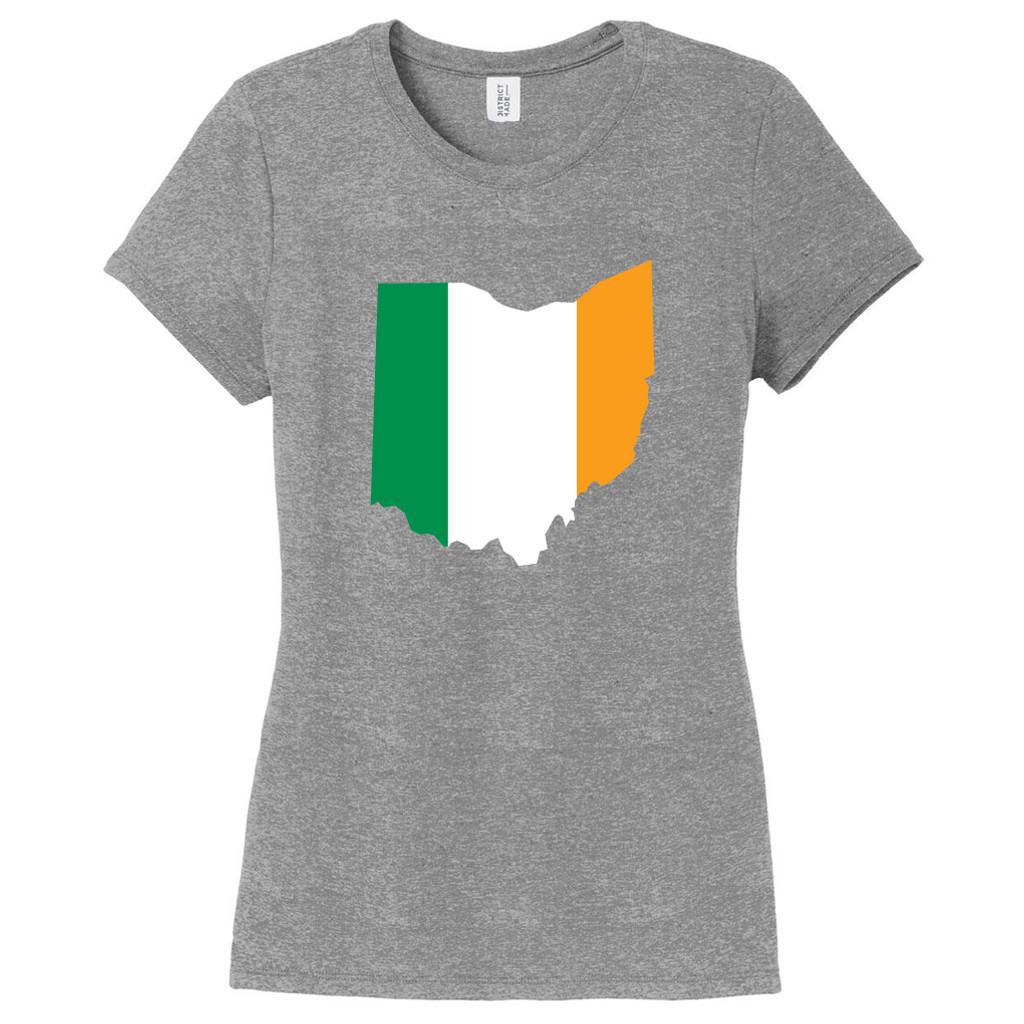 Gray Frost Custom Irish Flag State Silhouette Women's Fitted T-Shirt
