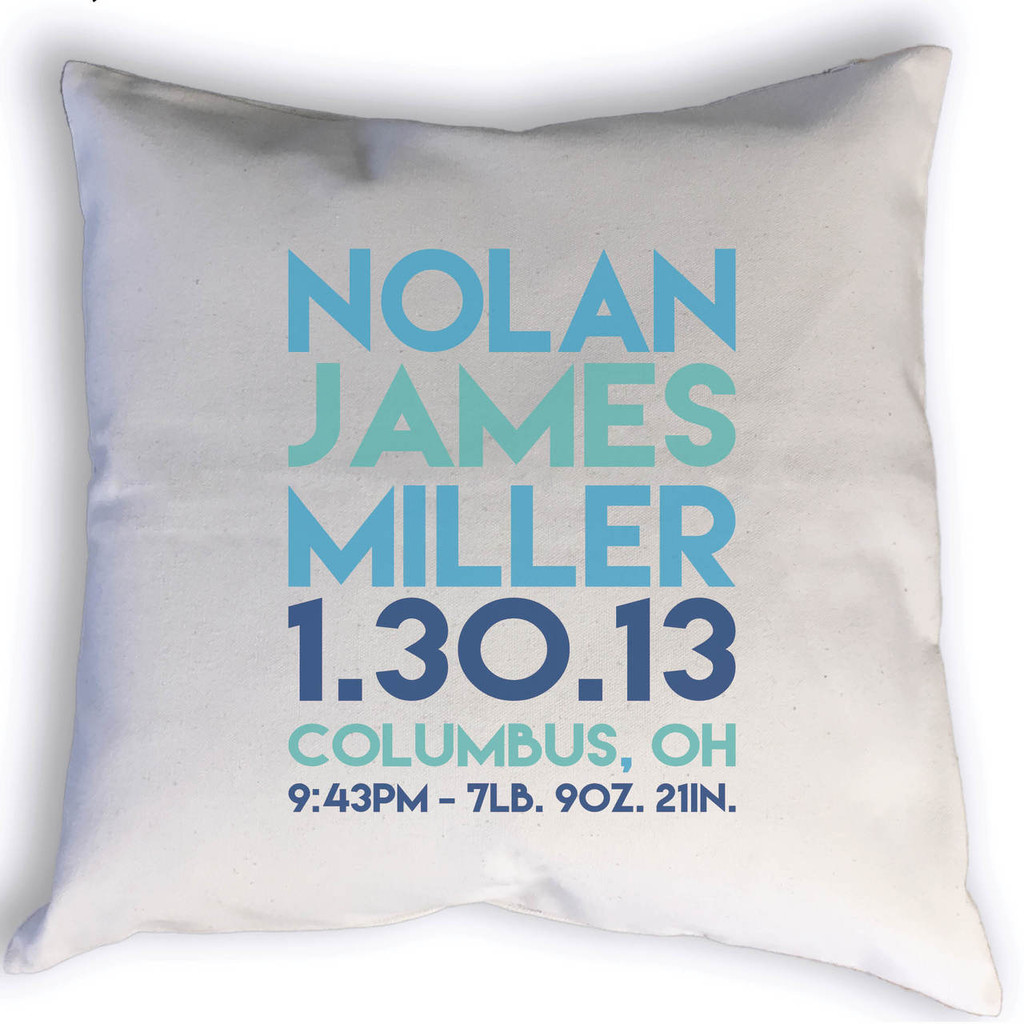Custom Birth Stats throw pillow with name, birth date, city, state, time, weight & length. Image shows stats printed in blues.