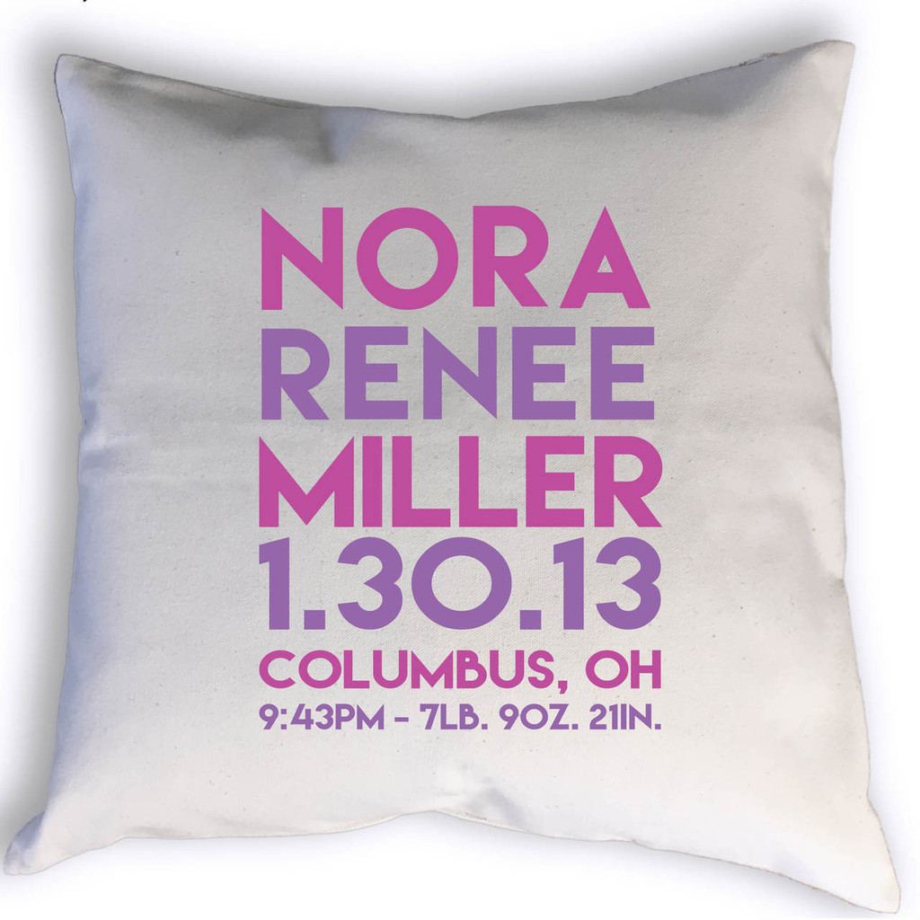 Custom Birth Stats throw pillow with name, birth date, city, state, time, weight & length. Image shows stats printed in pink and purple.