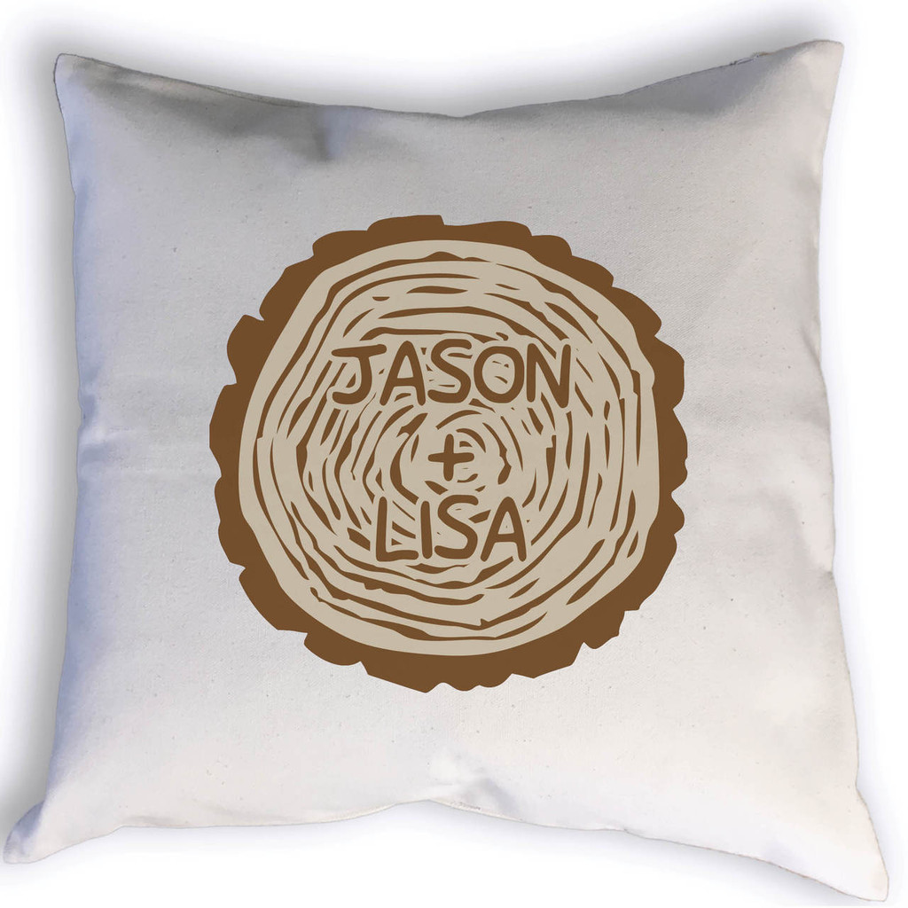 This custom carved tree trunk pillow is ideal for initials, nicknames, family names, or even a baby's name for their nursery. Get creative with this unique design! Perfect to display at your wedding, in your bedroom, or your family room.