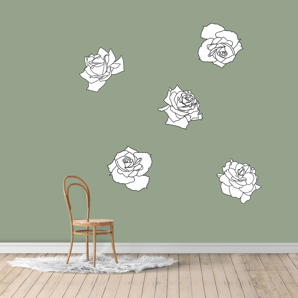 Black and White Roses Printed Wall Decals Medium Sample Image