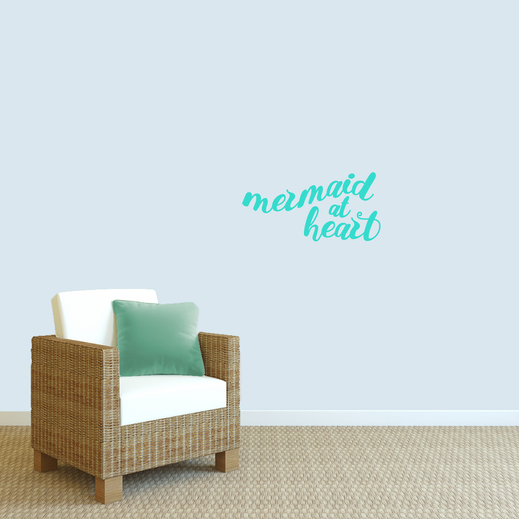 """Mermaid At Heart Wall Decal 24"""" wide x 12"""" tall Sample Image"""
