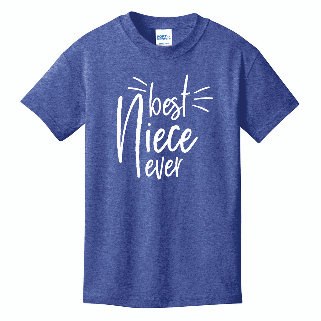 Best Niece Ever youth t-shirt on heather royal