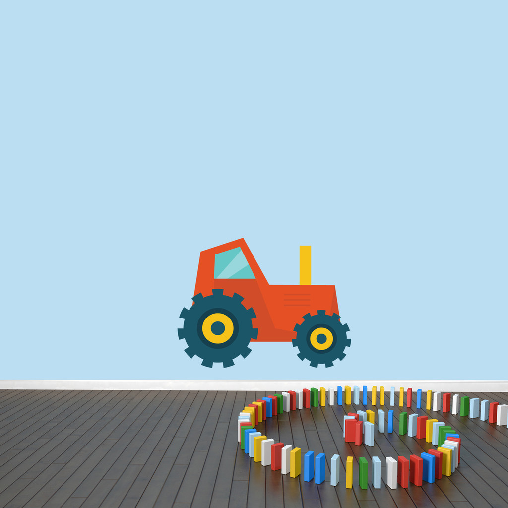 """Tractor Printed Wall Decal 24"""" wide x 18"""" tall Orange Sample Image"""