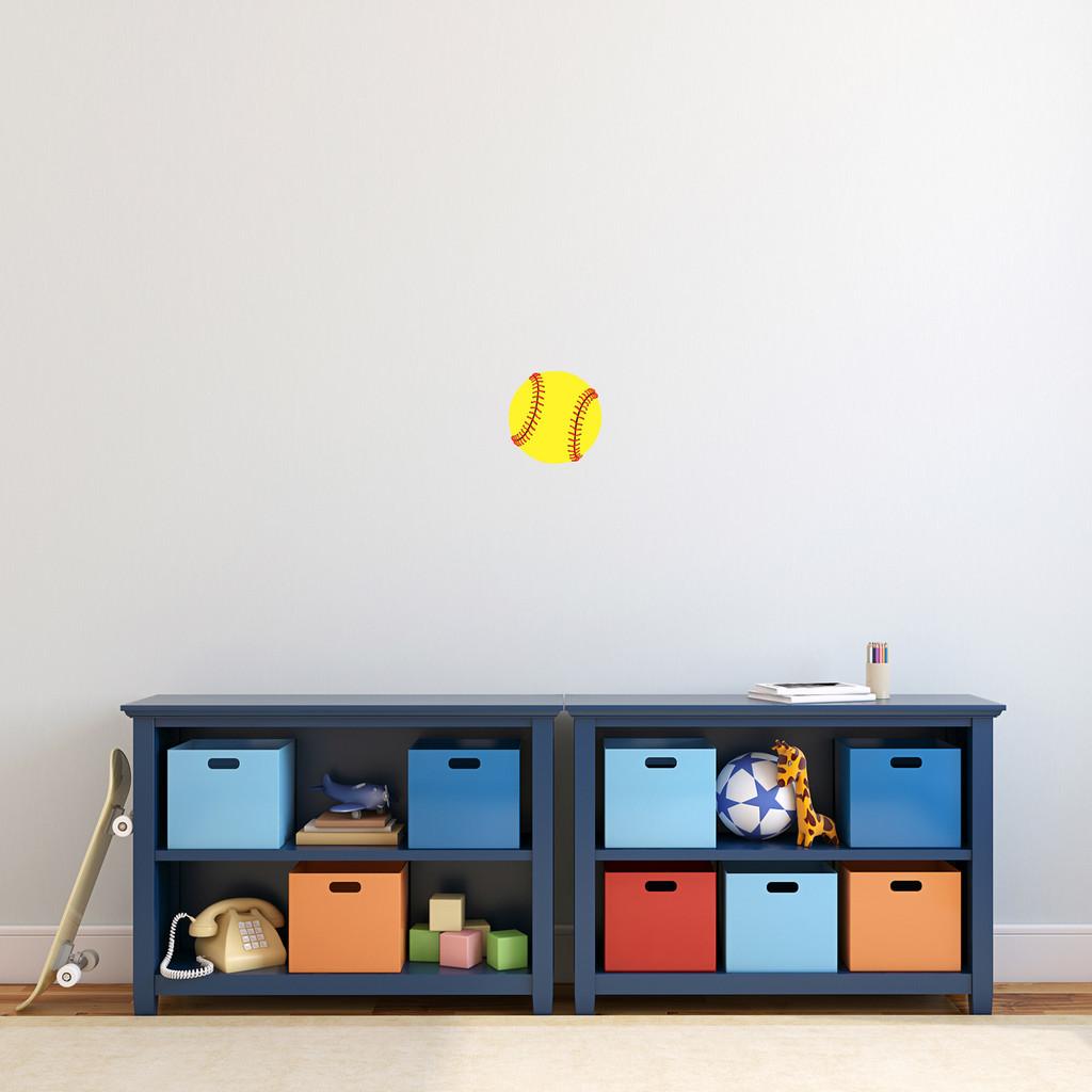 """Softball Printed Wall Decal 6"""" wide x 6"""" tall Sample Image"""
