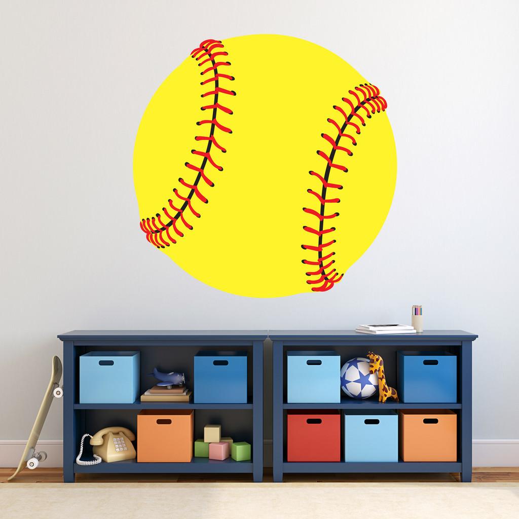 """Softball Printed Wall Decal 36"""" wide x 36"""" tall Sample Image"""