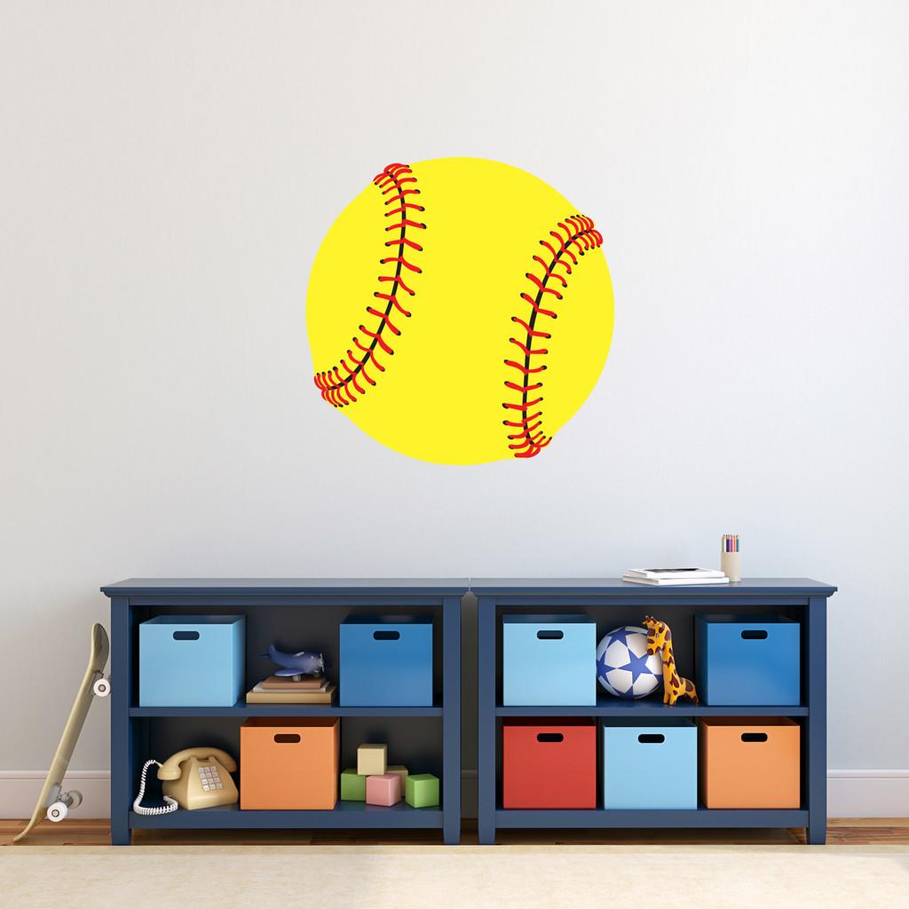 """Softball Printed Wall Decal 24"""" wide x 24"""" tall Sample Image"""