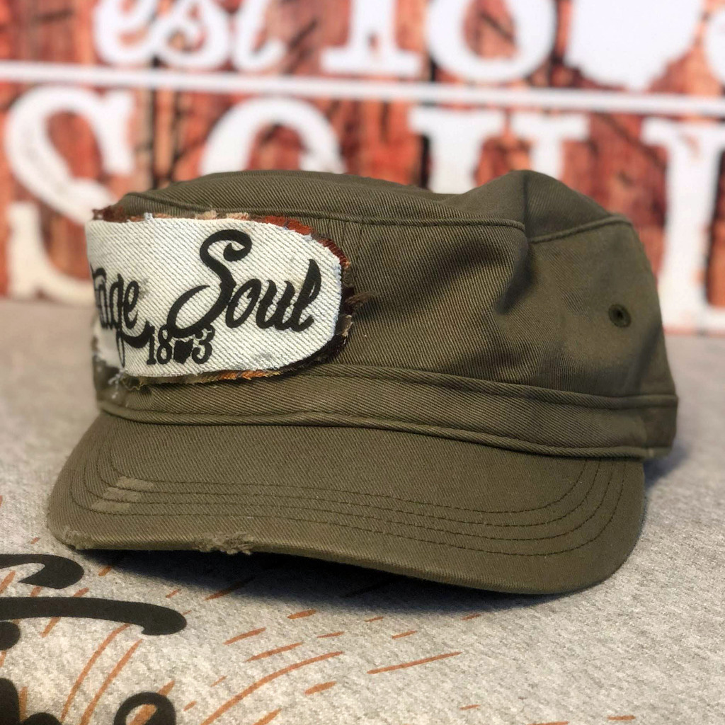 Olive Distressed Military Vintage Soul Ohio Patch Hat