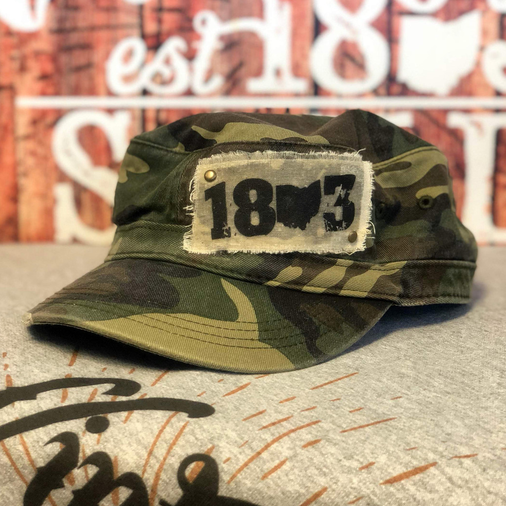Camo Distressed Military 1803 Ohio Patch Hat
