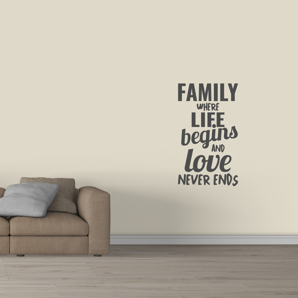 "Family Where Life Begins Wall Decal 28"" wide x 48"" tall Sample Image"