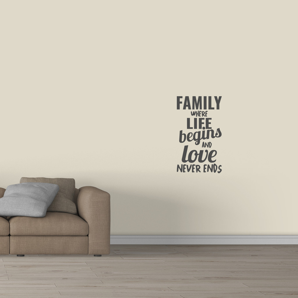 "Family Where Life Begins Wall Decal 21"" wide x 36"" tall Sample Image"