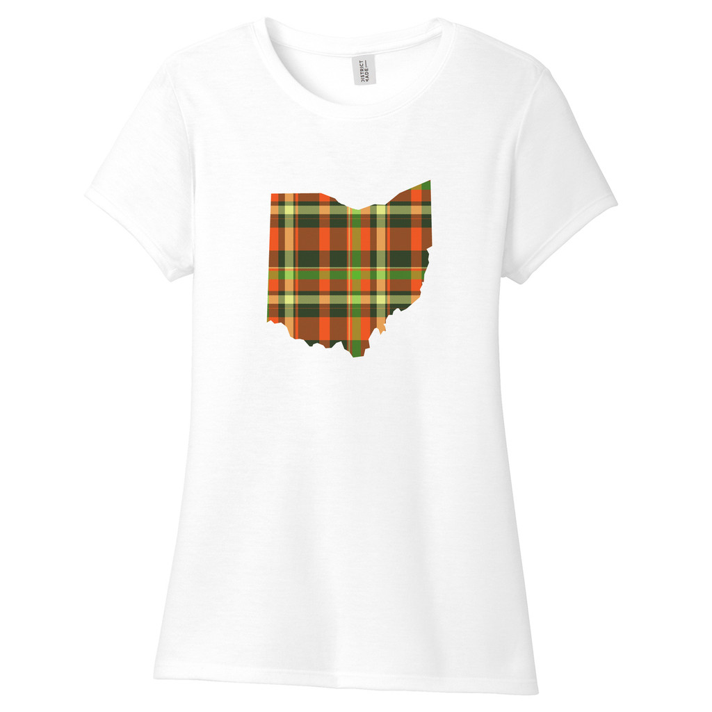 Fall Plaid Ohio Women's Fitted T-Shirt White Sample Image