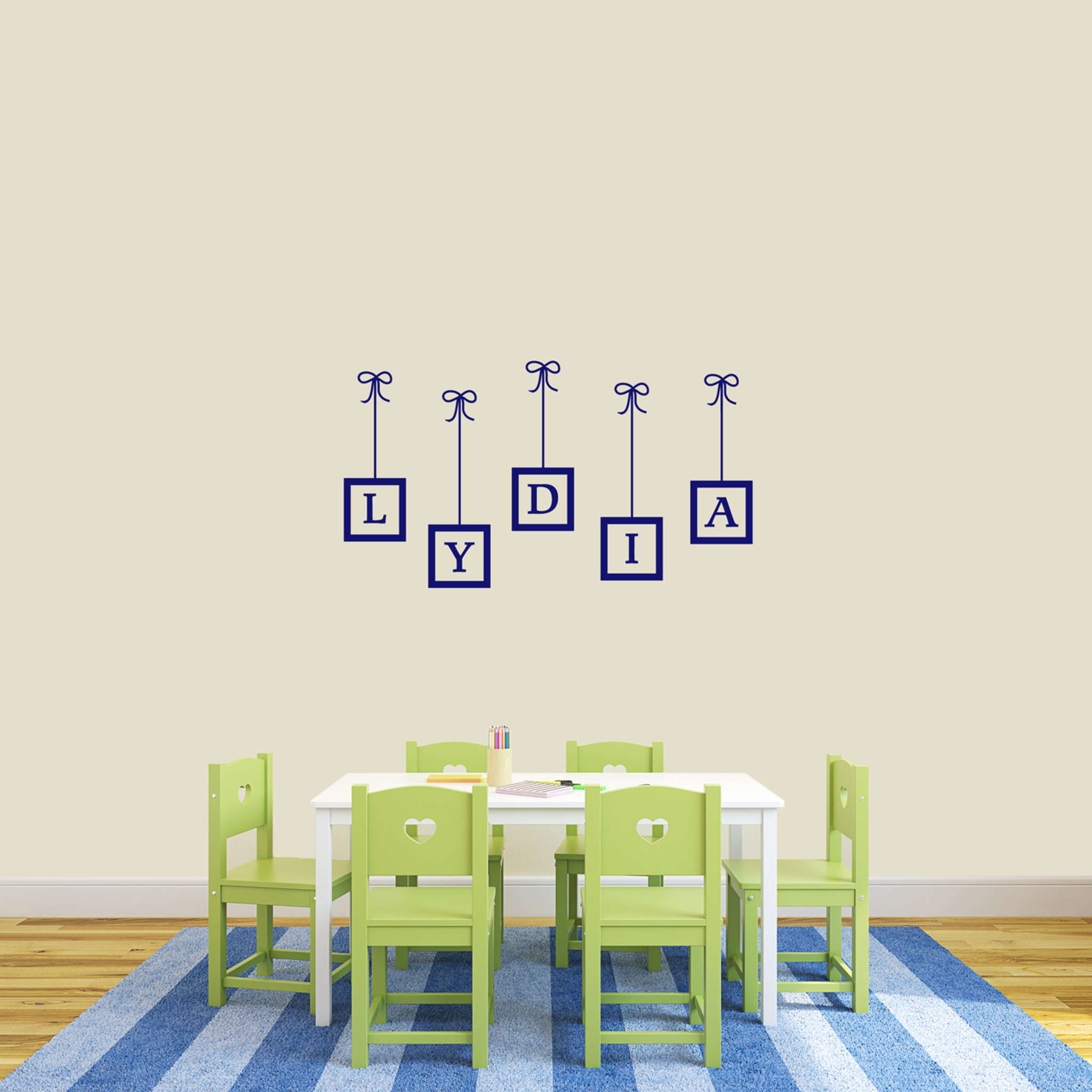 Custom Hanging Frames Name Wall Decal