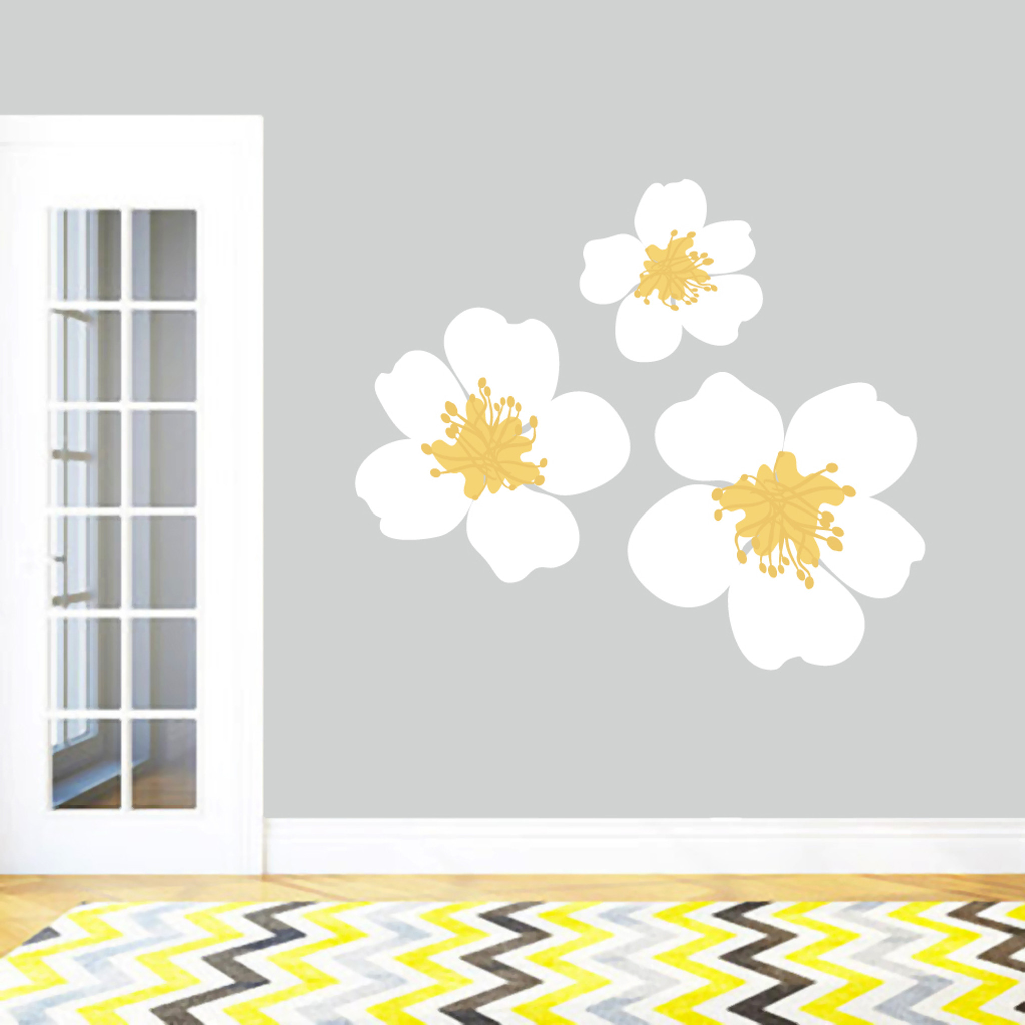 White And Yellow Flowers Printed Wall Decals