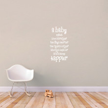 "A Baby Makes Wall Decal 18"" wide x 34"" tall Sample Image"