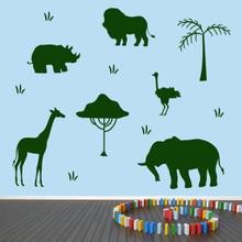 African Safari Animals Wall Decal Set Sample Image