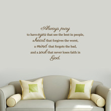 """Always Pray Wall Decals 36"""" wide x 22"""" tall Sample Image"""