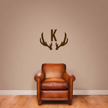 "Antlers Monogram Wall Decal 30"" wide x 22"" tall Sample Image"