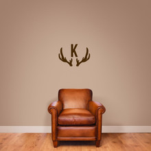 "Antlers Monogram Wall Decal 24"" wide x 17"" tall Sample Image"