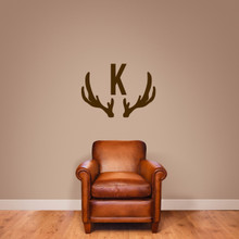 "Antlers Monogram Wall Decal 36"" wide x 26"" tall Sample Image"