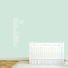 "Baby Words Wall Decal 16"" wide x 42"" tall Sample Image"