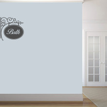 "Bath Sign Wall Decals 22"" wide x 22"" tall Sample Image"