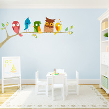"Birds On A Limb Printed Wall Decals 60"" wide x 26"" tall Sample Image"