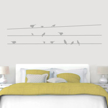 """Birds On Lines Wall Decals 84"""" wide x 19"""" tall Sample Image"""