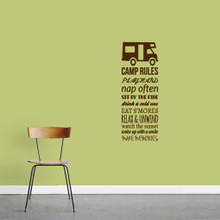"Camp Rules - RV Wall Decals Wall Stickers 18"" wide x 48"" tall Sample Image"