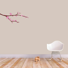 """Cherry Blossom Branch Printed Wall Decal 24"""" wide x 10"""" tall Sample Image"""
