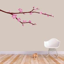 """Cherry Blossom Branch Printed Wall Decal 48"""" wide x 18"""" tall Sample Image"""