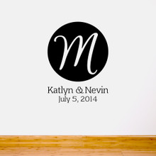 Circle Wedding Monogram Cutout Wall Decals and Stickers
