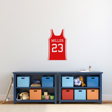 "Custom Basketball Jersey Wall Decal 15"" wide x 24"" tall Sample Image"