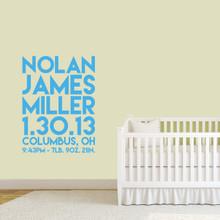 "Custom Birth Stats Wall Decal 36"" wide x 48"" tall Sample Image"