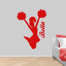 """Custom Cheerleader Wall Decal 36"""" wide x 48"""" tall Sample Image"""