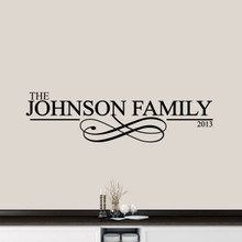 "Custom Family Name With Scroll Wall Decal 60"" wide x 16"" tall Sample Image"