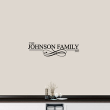 "Custom Family Name With Scroll Wall Decal 36"" wide x 10"" tall Sample Image"