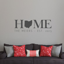 "Custom Home State Wall Decal 48"" wide x 16"" tall Sample Image"