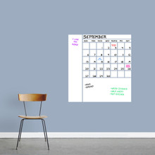 """Dry Erase Calendar With Notes Wall Decals 28"""" wide x 30"""" tall Sample Image (Writing Not Included With Purchase)"""
