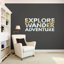 """Explore Wander Adventure Printed Wall Decals 48"""" wide x 21"""" tall Sample Image"""