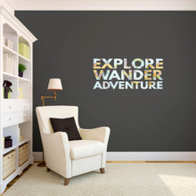 """Explore Wander Adventure Printed Wall Decals 36"""" wide x 16"""" tall Sample Image"""