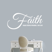 "Faith Makes Things Possible Wall Decals 48"" wide x 22"" tall Sample Image"