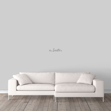 "Custom Family Name Wall Decal 12"" wide x 3"" tall Sample Image"