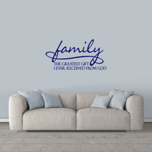 "Family Wall Decal 36"" wide x 18"" tall Sample Image"