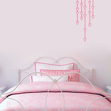 """Hanging Hearts Wall Decals 14"""" wide x 32"""" tall Sample Image"""