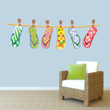 "Hanging Flip Flops Printed Wall Decals 60"" wide x 20"" tall Sample Image"